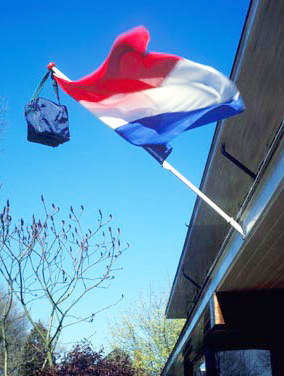 Q: Why do the Dutch hang backpacks on flagpoles in June?