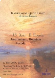 Spring concert on 17 May 2018 in the English Church: Quod Libet sings Bach and Howells