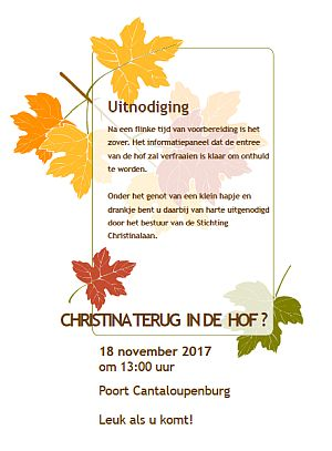 Information Panel decorated at Hofje Christinalaan on November 18th