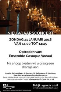 R.K. Cemeteries offers New Year's concert on 21 January 2018