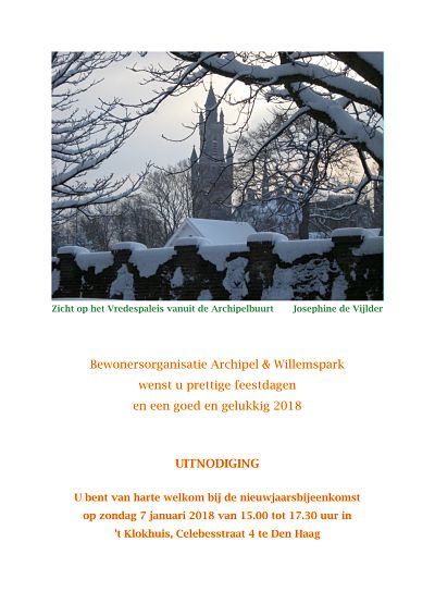 Residents' organization Archipel & Willemspark: Christmas wish and invitation for the New Year's reception
