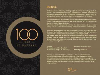 Uitnodiging Hoogmis 100-jarig bestaan