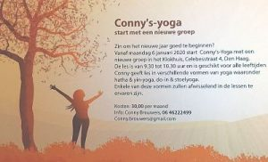 Conny Brouwers start new 'regular' Yoga course