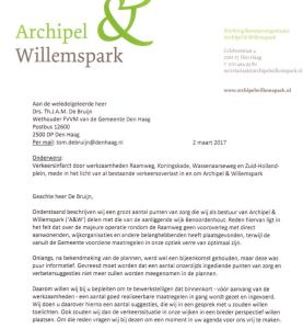 A&W letter to Municipality on Raamweg/Koningskade