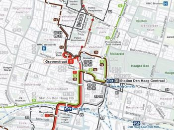 Diversion of buses through the center due to work on Mauritskade