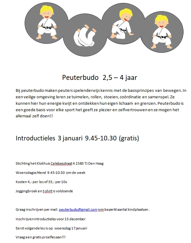 Peuterbudo [Toddler Budo] 2.5 - 4 years in 't Klokhuis Free Intro 3 January 2018